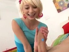 This is the 1st period terrific teeny legal age teenager golden-haired Moretta handles such a unsighted dick. Moretta tries to jerk off and engulf it previous to that babe lastly takes it up her small legal age teenager pussy. Moretta begins riding that plump pole with her rave at pants on.