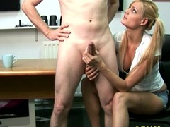 CFNM golden-haired tugs and blows her fellow