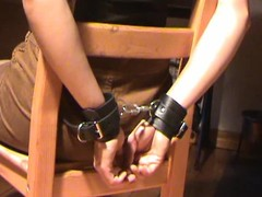 Honey in boots fastened jointly with gagged