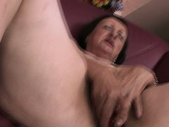 Horn-mad housewife carrying-on with herself