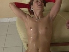 This lascivious housewife receives an anal creampie