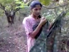 Adorable Indian floozy in gentle pink suit goes in the forest take make a sex video, where that babe will show her good tits respecting appetizing nipps and muted pussy.