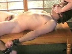A sexy S&m movie scene features a headed almost obedient show the way thrall mammal minded a slow hand job by his adult BBW golden-haired mistress.