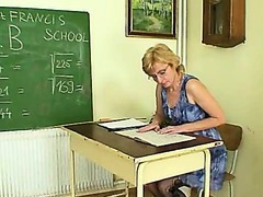 Milf teacher wicked fingering after having a class