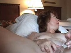 Lewd aged wife anal masturbating