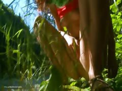 Tiny serbian hottie peeing in a forest