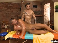 Nice-looking trestle is delighting twink with soaking oral-sex