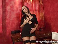 flirty dark brown office chick