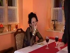 Breasty Domino Receives It in a Restaurant