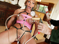 Shayla Laveaux takes time away from her family to go off and fulfill her fantasies as a total fucking whore! This busty golden-haired and sexually thrived mother I'd like to fuck has an urgency to satisfy her slavery curiosity. We thong in a spider gag in her face hole and tie her up with dark rope, busting out her giant pointer sisters and begging for more, we hooked up these hard nipps to a hardly any sucction hoses and pumped up the pressure on her clitoris. This Playgirl squirms and shakes and acquires a giant load in her face hole after getting bound up and screwed hard...