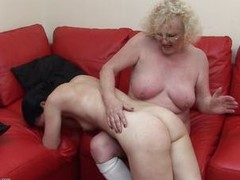 This granny has the younger woman on her knee, but if u are thinking that that babe is going to lack any sexuality, U have to think afresh as that babe lures the younger woman betwixt her legs and widens her large legs wide open for younger woman. Apparently the darksome haired woman loves what that babe finds there.