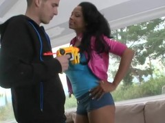 Nobles gives a blow job paired with acquires will not hear of dark vagina paired with arse slammed