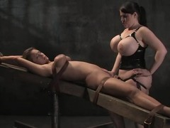 Goddess with boastfully scoops is torturing this perverted blondie