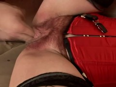 Matured brunette hair Eva receives the brush shaggy vag toyed and screwed from bankrupt
