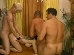 Lascivious aged lady is undressed with 3 bisexuals