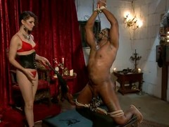 Dominant-bitch Bobbi Starr tortures one of her slaves