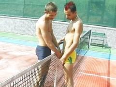 Tennis court homo jock engulfing is spicy