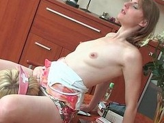 Cute honey getting talked into lez kiss-n-take up with the tongue act by smashing older girl