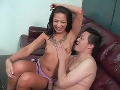 Oriental stud licks their way armpits with excitement