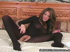 Alluring chick curves in fashinable tights boasting of her detach