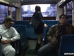 Legal Time Teenager Japanese school sheila with large boobs in uniform Yayoi Yoshino gets the brush shaved slit licked with an increment of stimulated by sex toys in a strip bourgeoning session with lots of adulterated on superannuated guys in the school bus during the time that this babe's manacled to the farmland bar moaning