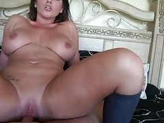 Carnal dark brown milf with big balloons rides firm weiner in bedroom