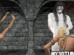 Tied up 3D cartoon pretty good sucks cock and gets fucked