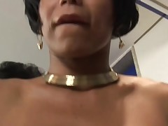 Shemale gets a violent fucker & is gagged with an increment of fucked